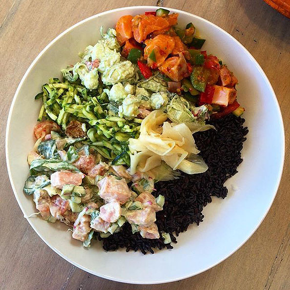 Pictured: Poke of the day with seasonal sides