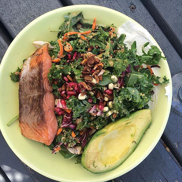 Pictured: The Boathouse Salad, Quinoa, avocado, kale, labne + carrot