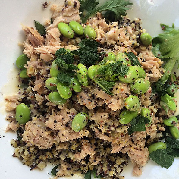 Pictured: Quinoa, Tuna and Edamame salad