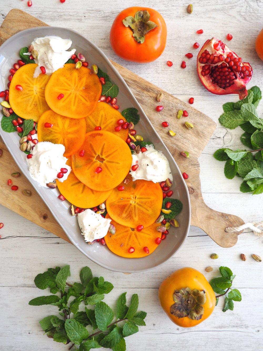 Persimmon, Burrata and Pistachio Salad