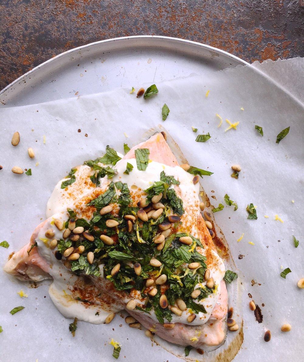 Salmon Tahini Yoghurt baked recipe
