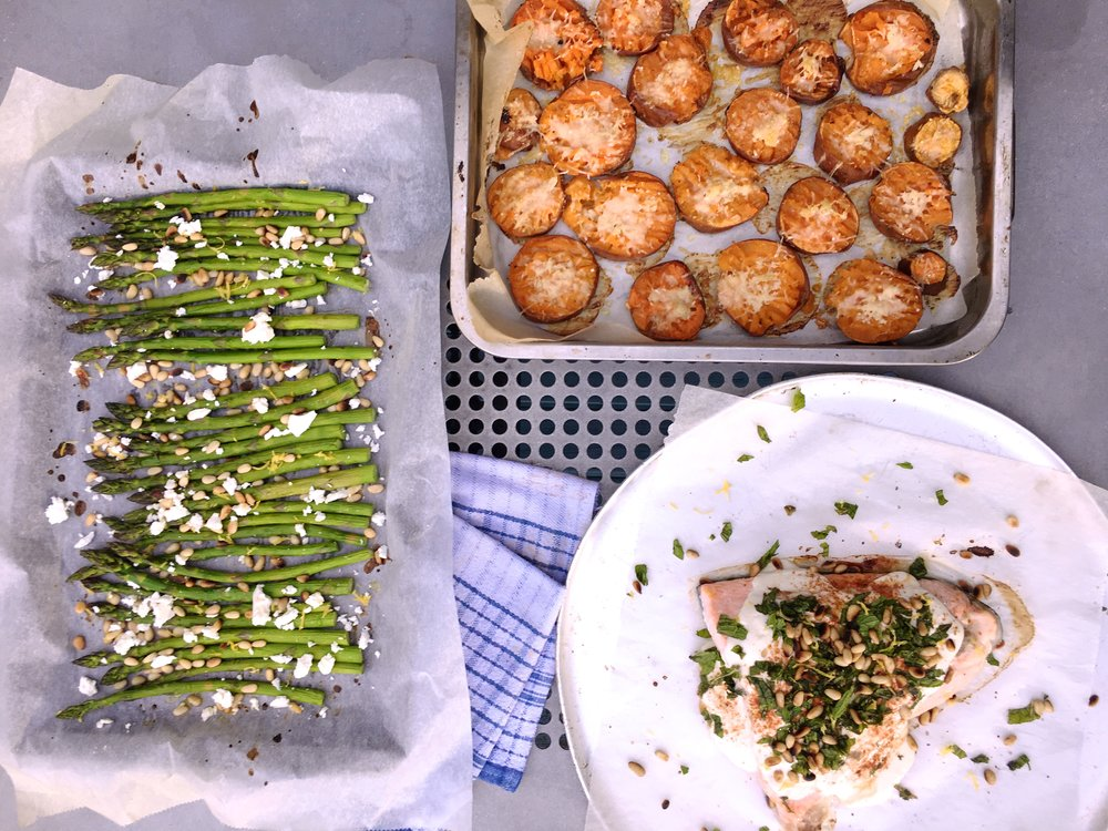 From Left: Asparagus salad, Smashed sweet potato garlic bites and Baked salmon with tahini yoghurt dressing.
