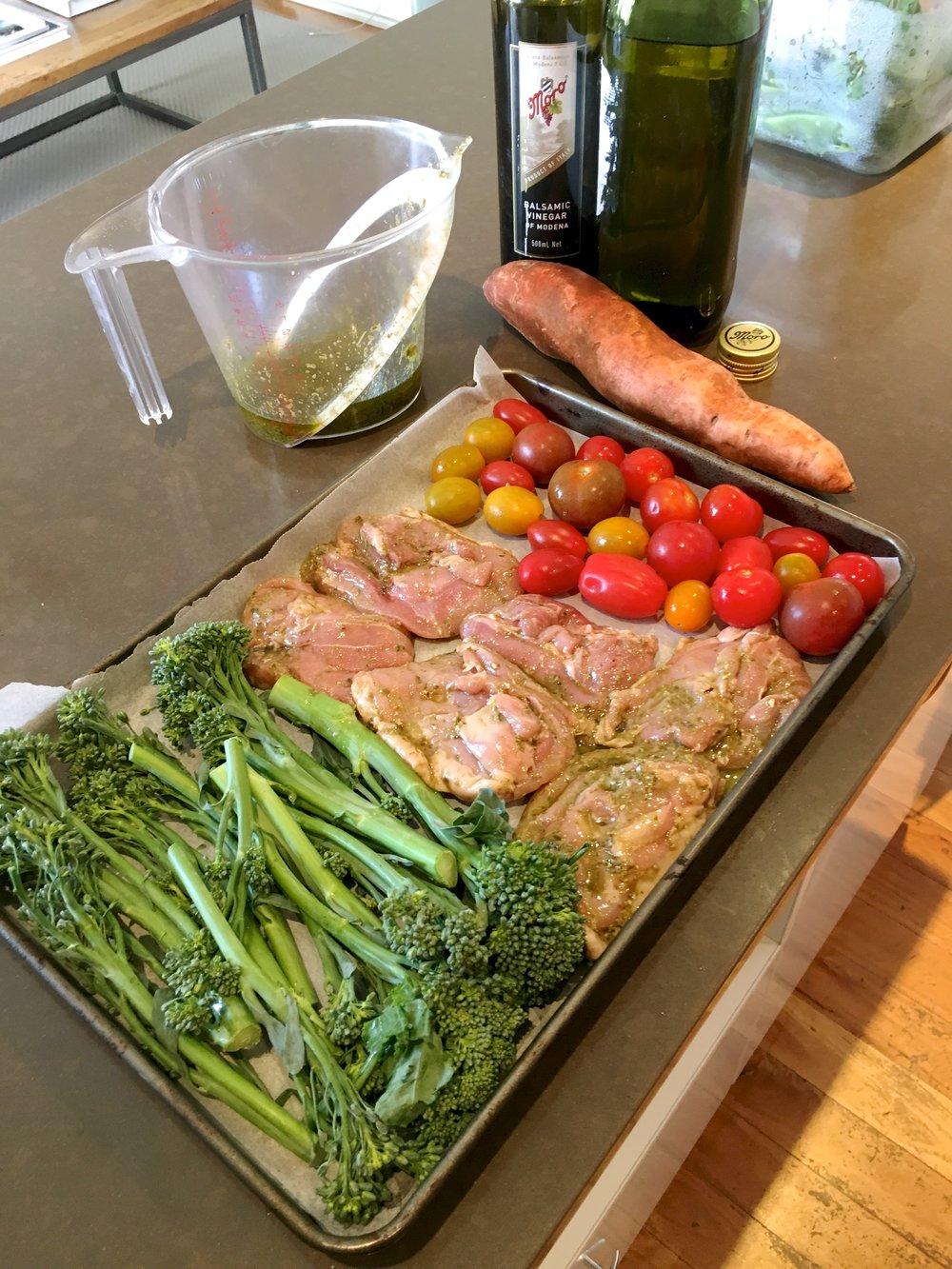 One-tray Balsamic Pesto Chicken healthy recipe