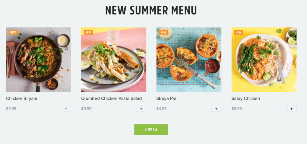An example of the menu options from YouFoodz.