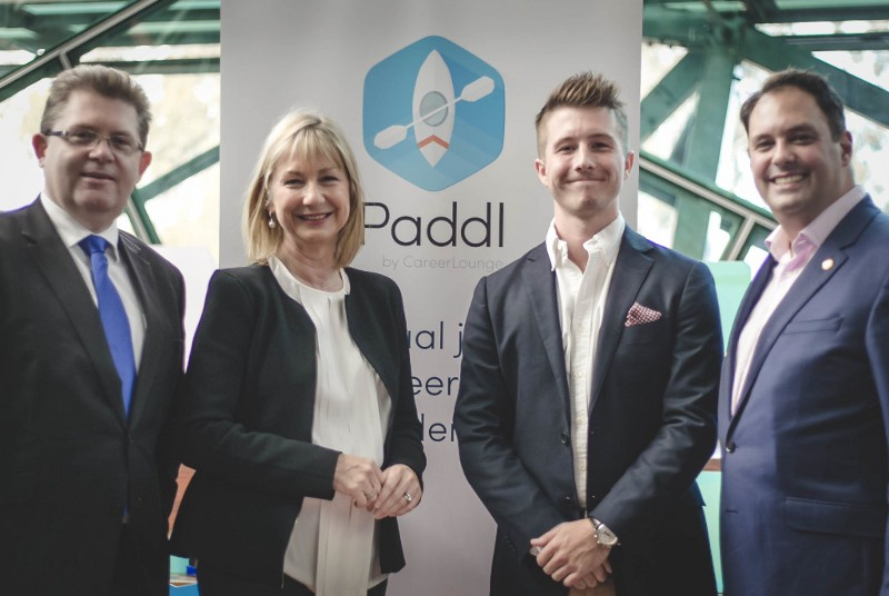 Senator the Hon Scott Ryan, Dominique Fisher, John Collins & the Hon Philip Dalidakis at the launch of Paddl.
