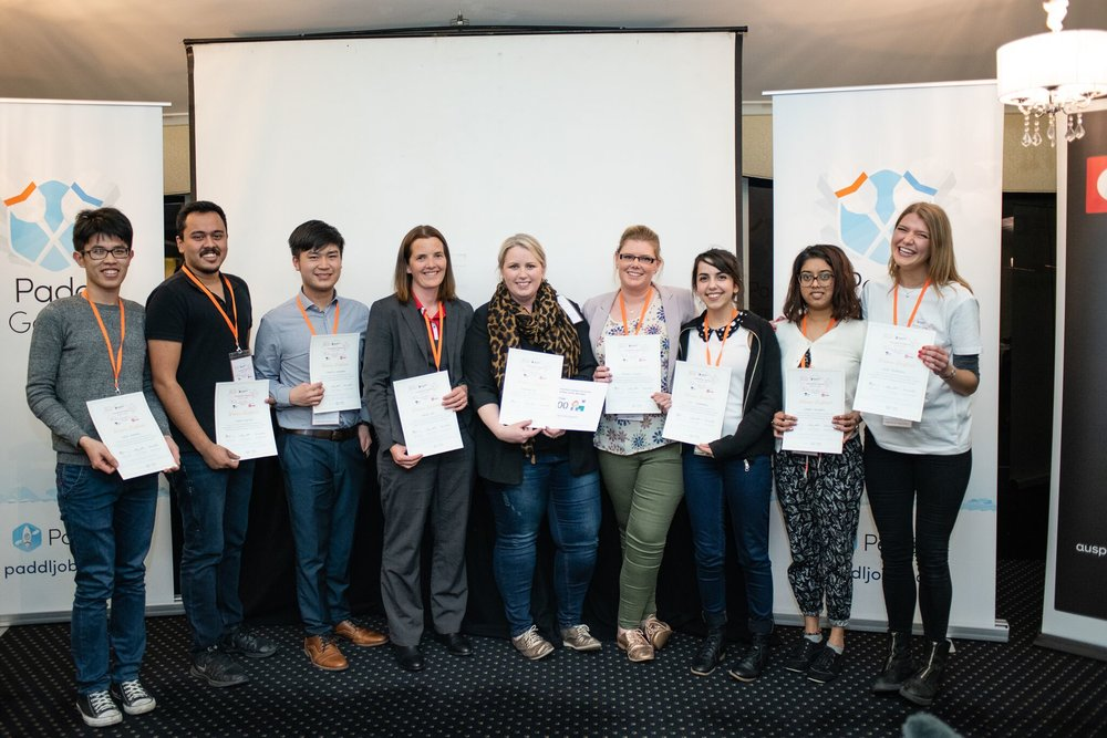 Team members in order of appearance (from left to right):  Henry Nguyen (Deakin University), Aarohan Dew (Deakin University), Brian Yan (RMIT), Kate Petersen (Australia Post), Lauren McIlrath (Red Raven Studio), Teagan Giggins (La Trobe University), Lilly Taraborrelli (Deakin University), Nikheta Joyekurun (Deakin University), Harriet Aspinall (Facilitator).