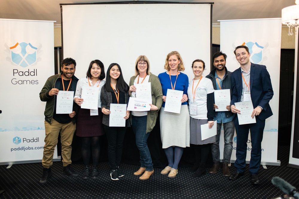 Team members in order of appearance (from left to right):  Junaid Shaik (Deakin University), Andrea Nguyen (La Trobe University), Marielle Louise Cruz (University of Melbourne), Joanne Livingstone (Cobram Chiropractic), Emel Aksan Krabel (Paddl Games Alumni), Nishant Gupta (La Trobe University), Thomas Balzary (Australia Post)