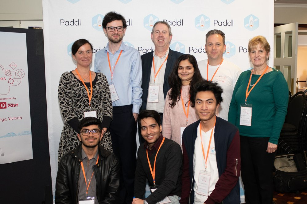 Team members in order of appearance (from left to right): (top row)  Sue King-Smith (Innovative Resources), David Charlwood (Deakin University), Chris Cain (Innovative Resources), Prashasti Pradhan (Swinburne University of Technology), Richard Walsh (Australia Post), Georgena Stuckenschmidt (Innovative Resources); (bottom row) Hussain Ibrahim (Victoria University), Fayaz Beigh (Deakin University), Panhavuth Kret (Paddl Games Alumni).