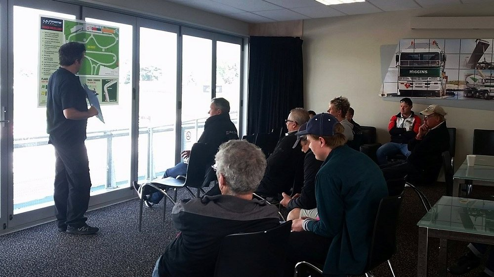 Drivers briefing for the Armstrong Motor Group trackday, run by Ultimate Trackdays