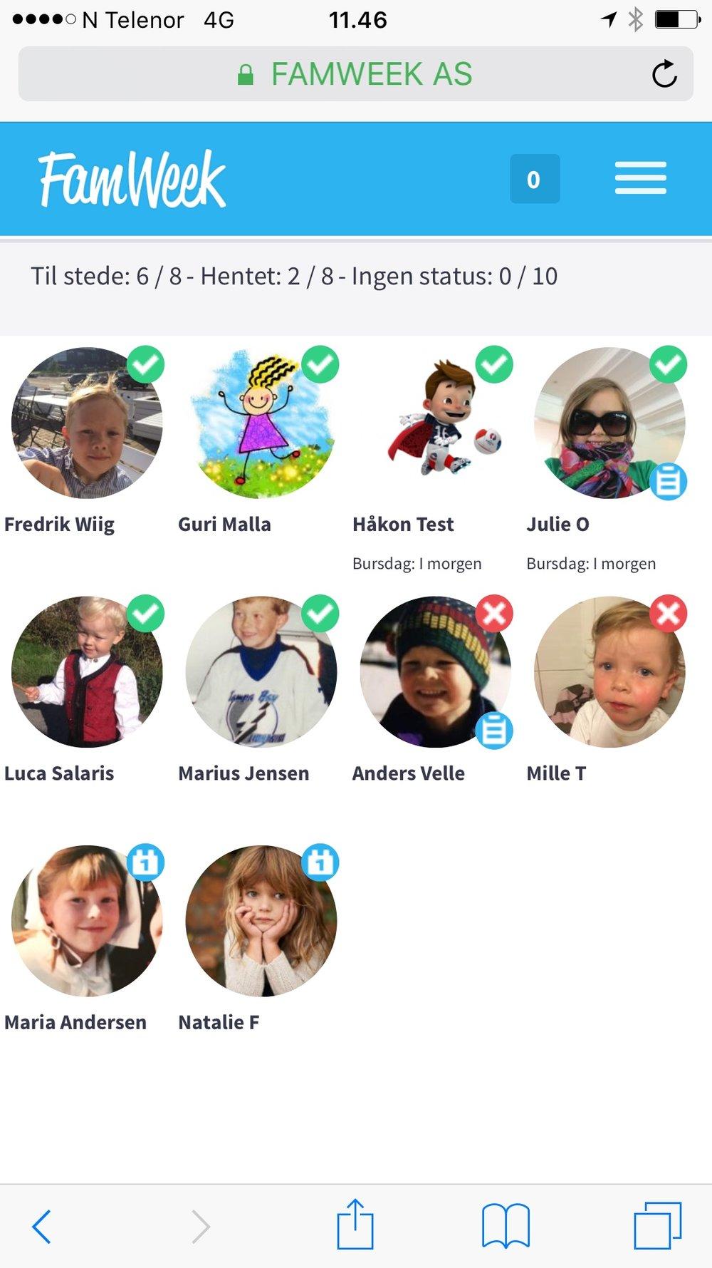 Hvor mange barn har du ansvaret for? - I FamWeek registrerer du enkelt når barna kommer i barnehagen. Du registrerer også når de blir hentet, og du vet hvem de kan bli hentet av.Skal dere ut på tur, bruk tellelistene, så er du sikker på at alle også er med tilbake!