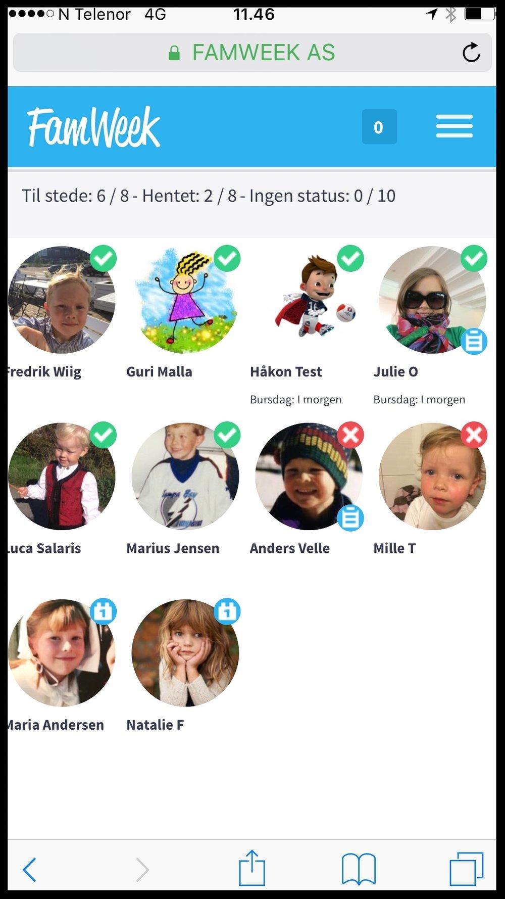Hvor mange barn har du ansvaret for? - I FamWeek registrerer du enkelt når barna kommer på SFO. Du registrerer også når de blir hentet, og du vet hvem de kan bli hentet av.Skal dere ut på tur, bruk tellelistene, så er du sikker på at alle også er med tilbake!