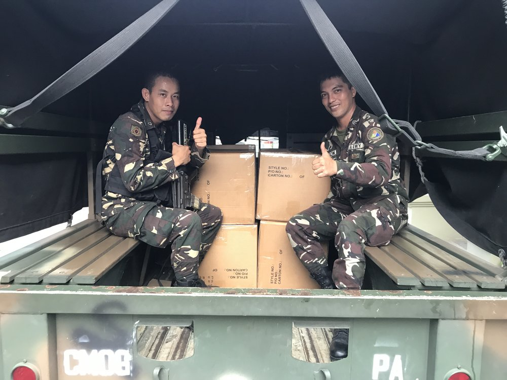 One of the deliveries sent by Tuloy and Friends to Marawi.  Delivered through the Civil Military Operations Group.