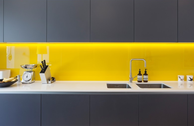 Acid Etched Colours Glass Splashback