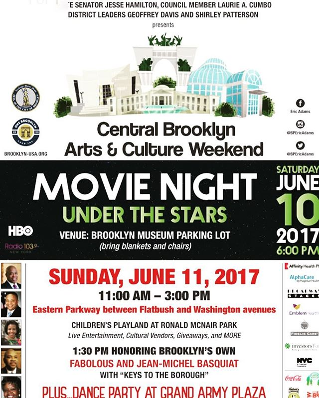 What are you doing this weekend? Join our #boroughpresident @bpericadams for the Ars & Culture weekend! #movienight #liveentertainment #danceparty • • #propectheights #crownheights #propectpark #artsandculture #shop_washington #grandarmyplaza
