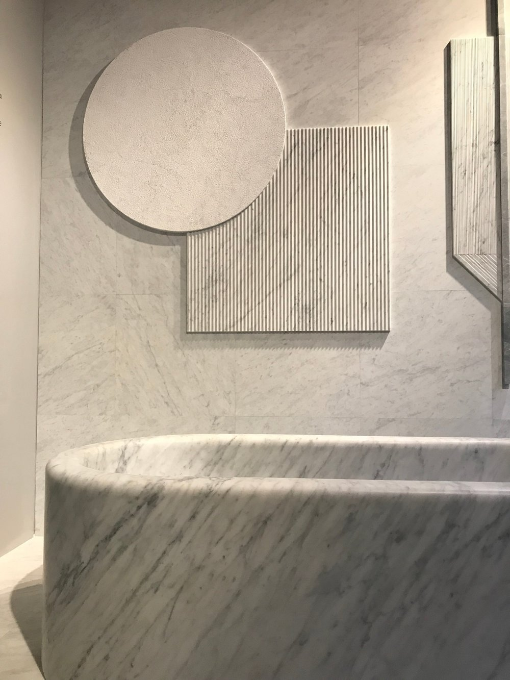 Beautiful honed marble bath at the Salvatore showroom