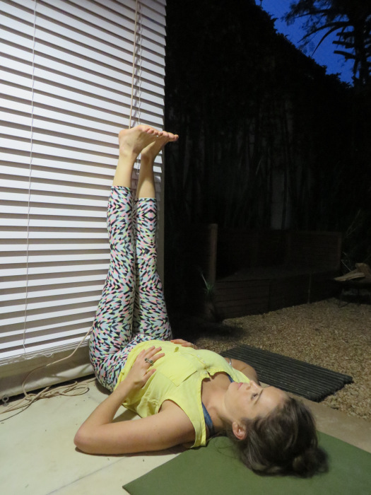Viparita karani - leg up the wall pose. Also exceptionally beneficial for management of varicose veins, menopause, anxiety, insomnia, and stress related disorders.