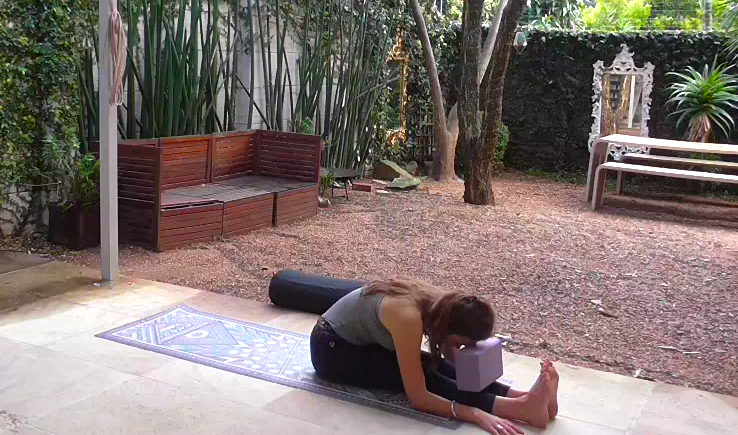 Sitting forward bend. Use a cushion/bolster under your belly too if you need. Hold for 10 deep breaths.