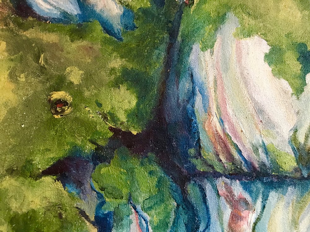 From my painting series on the Umlalazi mangrove forest. Oil on canvas. Image author's own.