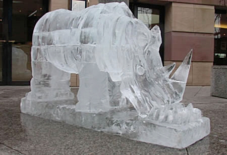 ICE CARVING RHINO - CARDIFF