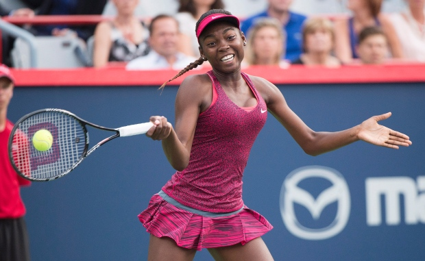 Canadian tennis player by way of Cameroon, Francoise Abanda. The Canadian Press/Graham-Hughes