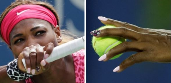 Serena Williams rocking pale pink gel manicure. AP (left) and Getty Images (right)