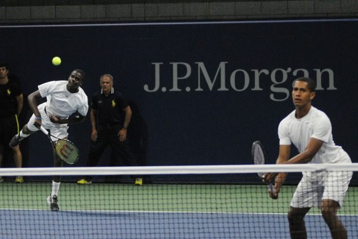 Francis Tiafoe (left) and Michael Mmoh (right) made their doubles debut in the professional circuit representing USA at the 2014 US Open and extended their journey to the second round. Photo by: Mike Lawrence // USopen.org