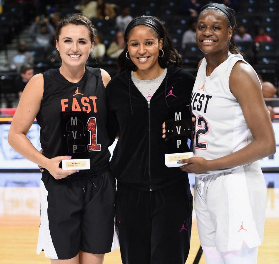 Team East MVP Erin Boley, Maya Moore, and Team West MVP Joyner Holmes. Photo/Nike News