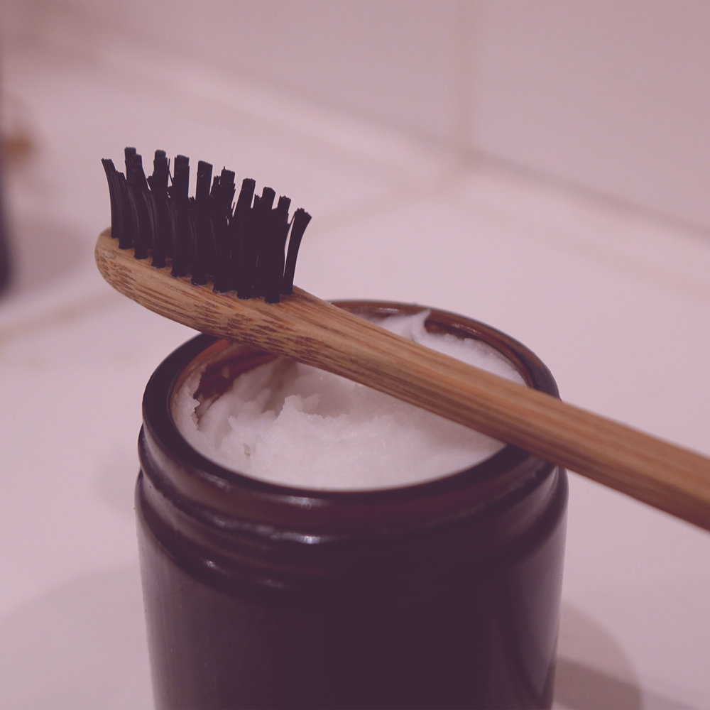 Bamboo toothbrush and homemade toothpaste