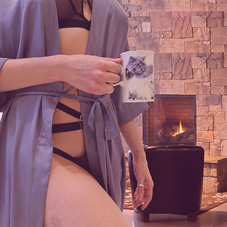 Sip a Turmeric latte in Twisted Lingerie in front of the fireplace