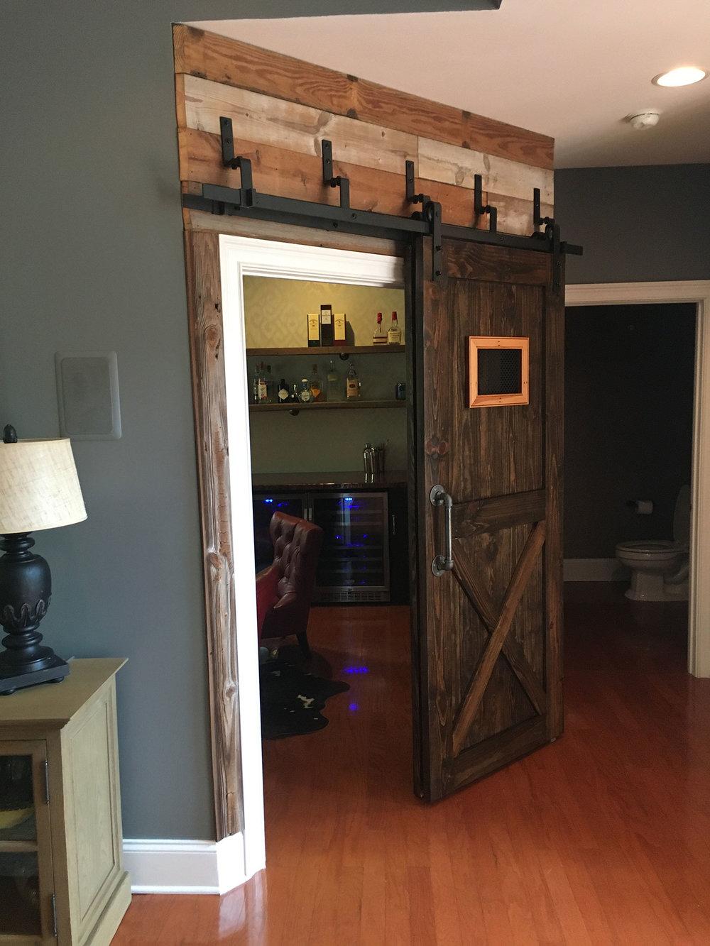 Sliding Barn Door For Retro Bar