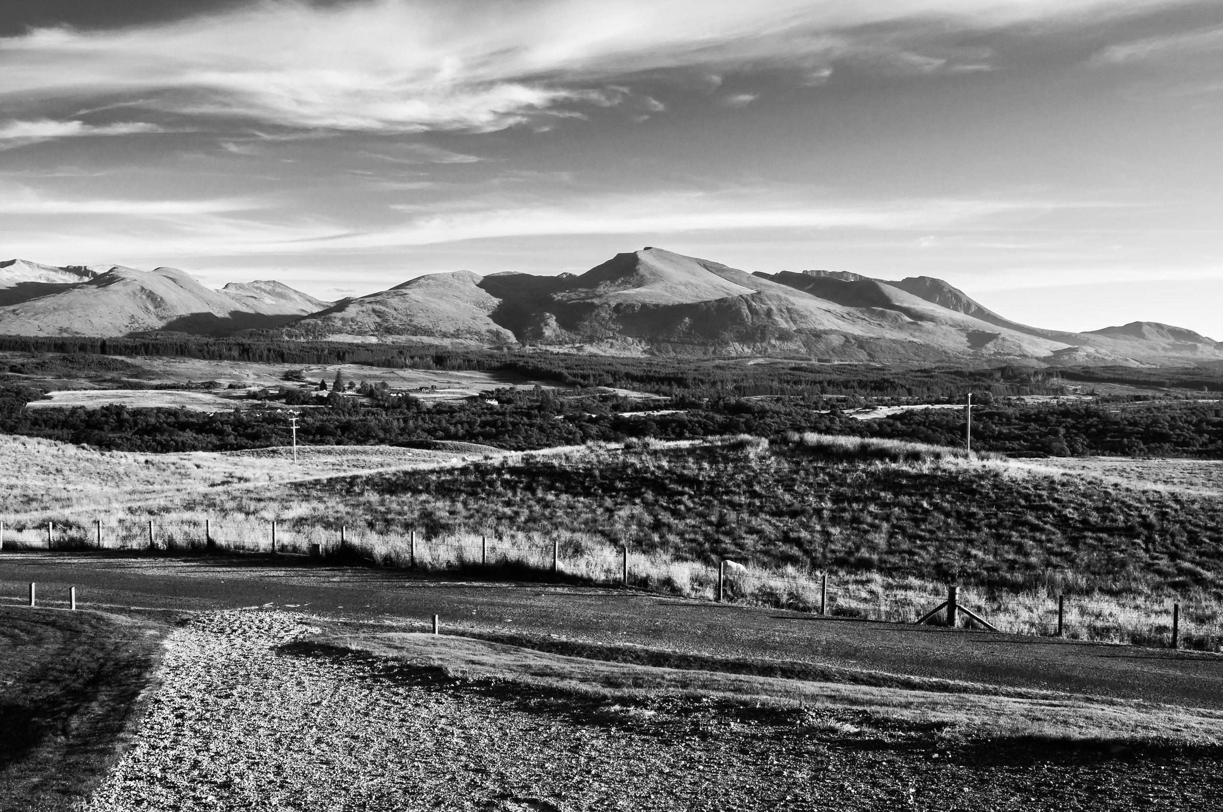 A view of the Nevis range from the Royal Marines Commando Memorial in the Highlands of Scotland.