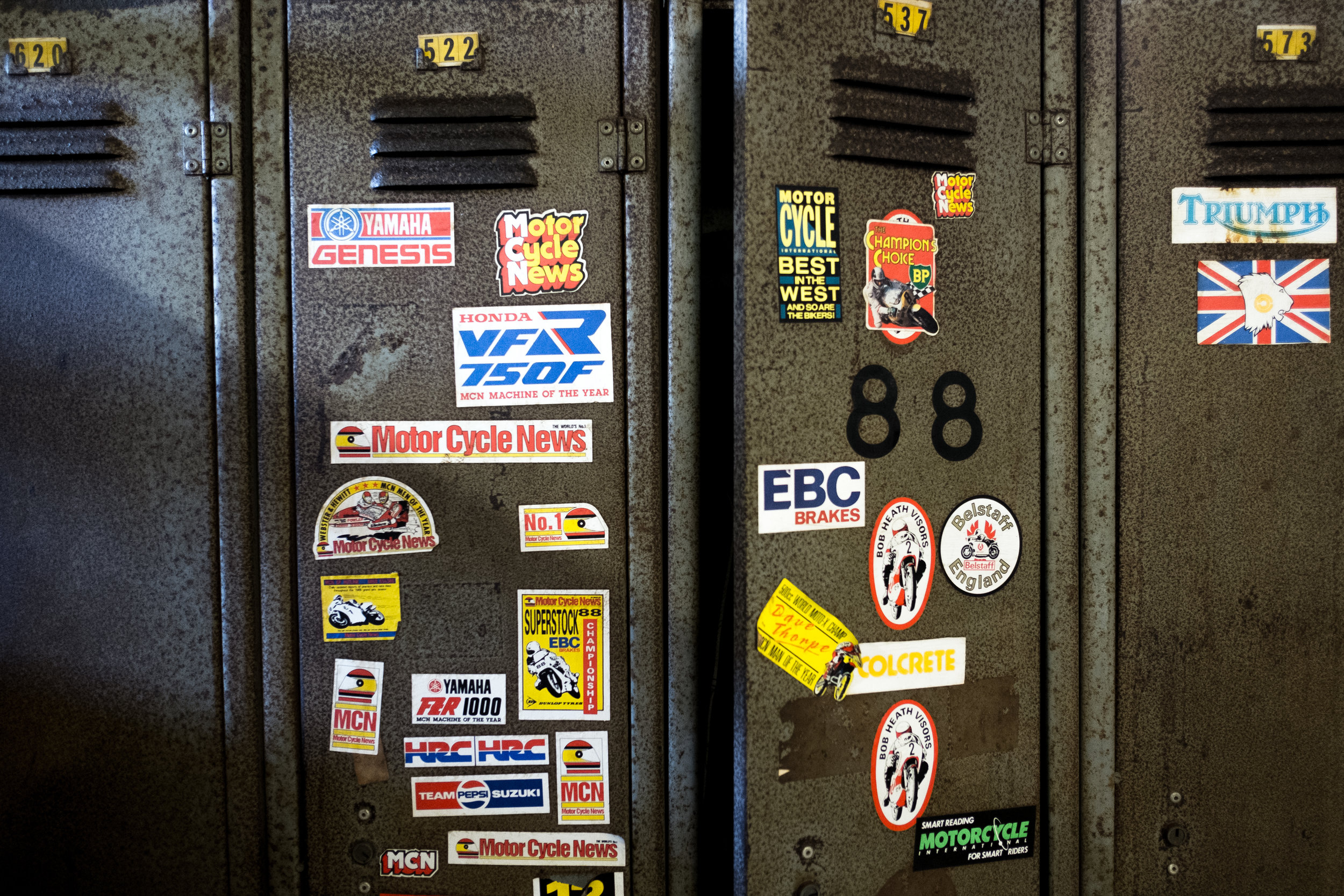 The personality of the miners shone through. A few bikers' lockers were grouped together, showing a shared love of machinery.