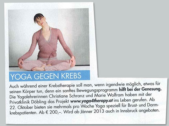 Presseartikel Yoga4Therapy als Krebstherapie