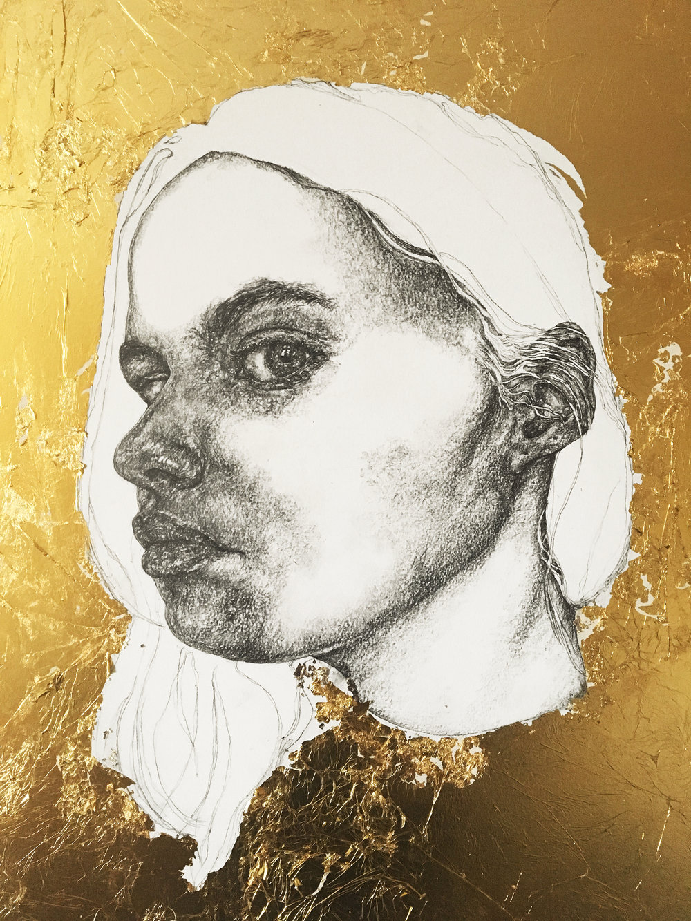 """The Gold Series - no.2"" - Pencil & gold leaf on board - 35 cm x 55 cm"