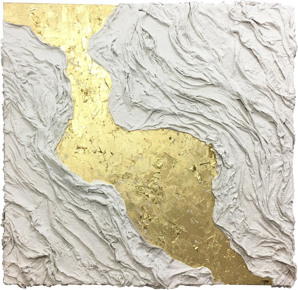 """The Loose Skin Series - Fraud"" - Mixed media & gold leaf on canvas - 75 cm x 75 cm"