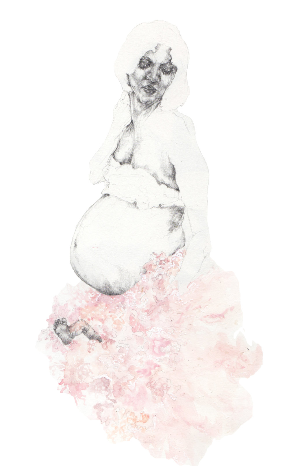 """Fleshy Obsession {Simone Rocha SS16}"" - Pencil & watercolour on heavyweight paper - 20 cm x 30 cm"