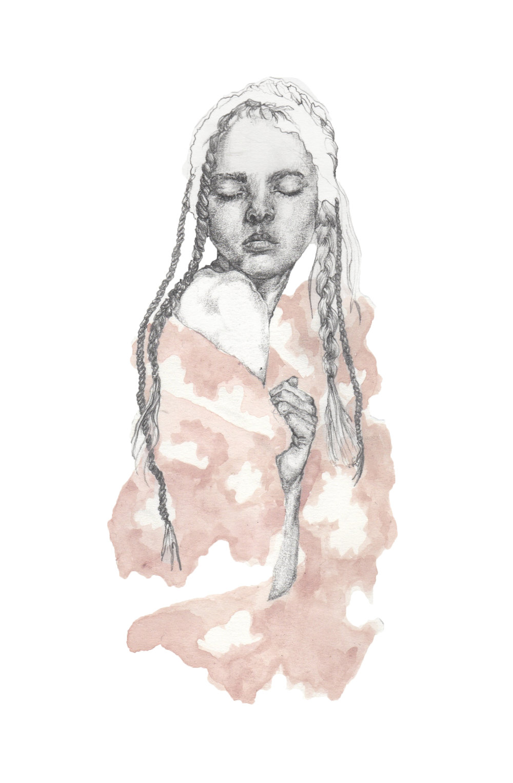 """Pink Skies and Fluffy Clouds {Simone Rocha SS16}"" - Pencil & watercolour on heavyweight paper - 20 cm x 30 cm"
