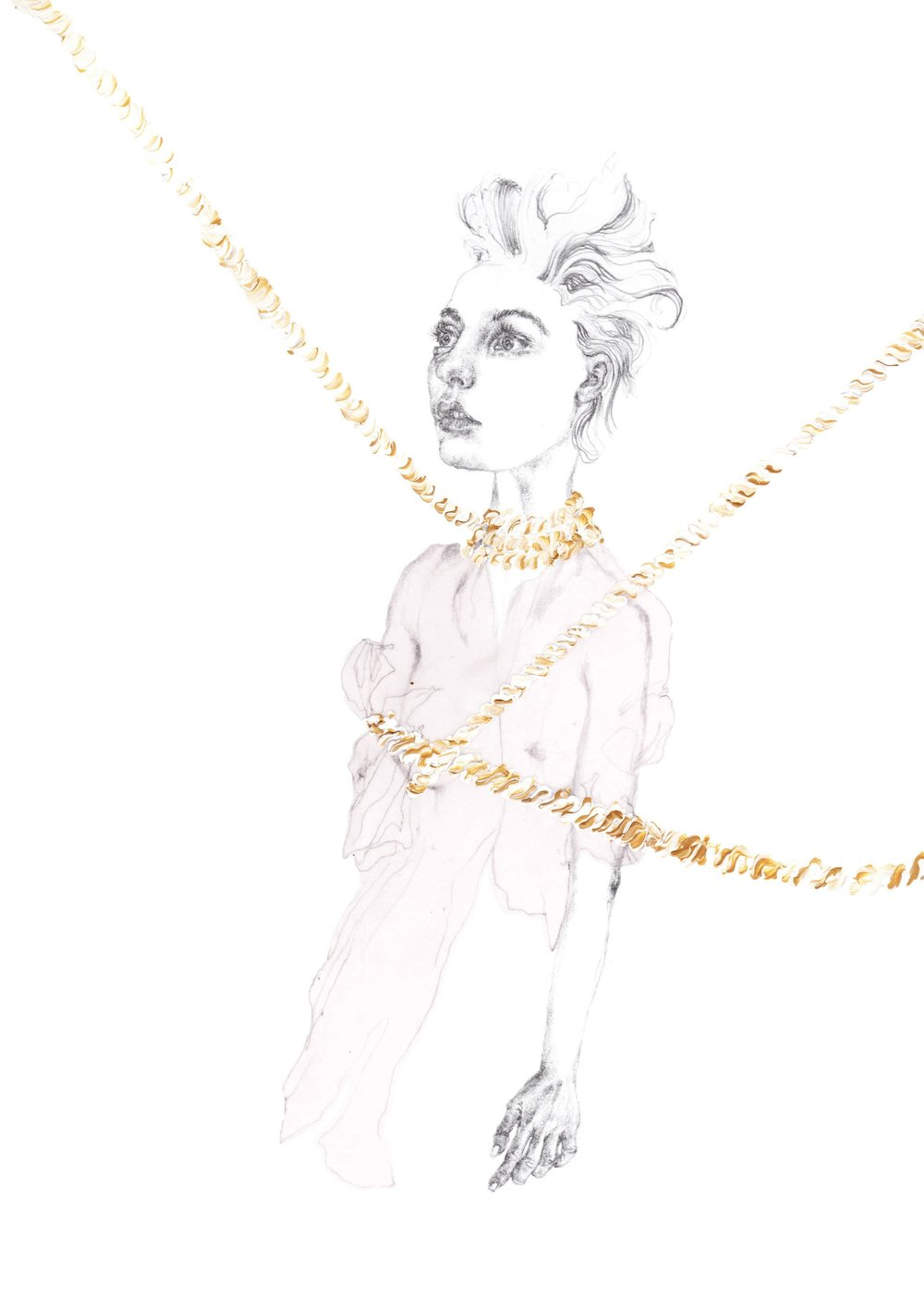 """Sadomasochism Bondage {Simone Rocha SS16}"" - Pencil & acrylic on heavyweight paper - 20 cm x 30 cm"