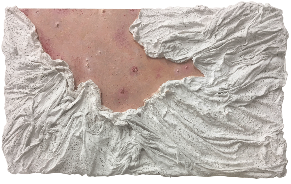 """Ripped Raw"" - Mixed media & oil paint on board - 35 cm x 60 cm"