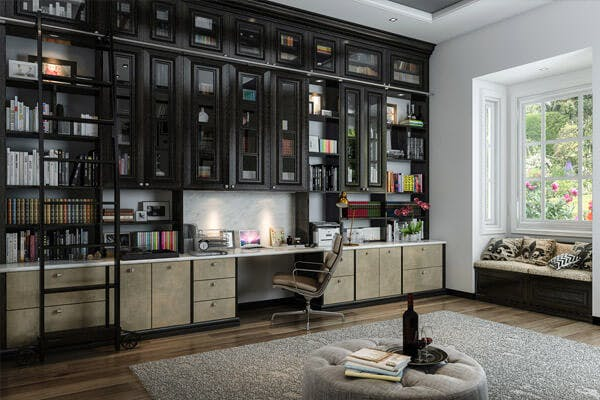 ... Storage, And Work Areas Make This Room A Real Show Stopper. Tall  Ceilings Donu0027t Mean That Books Are Inaccessible Thanks To A Rolling Rail  Ladder.