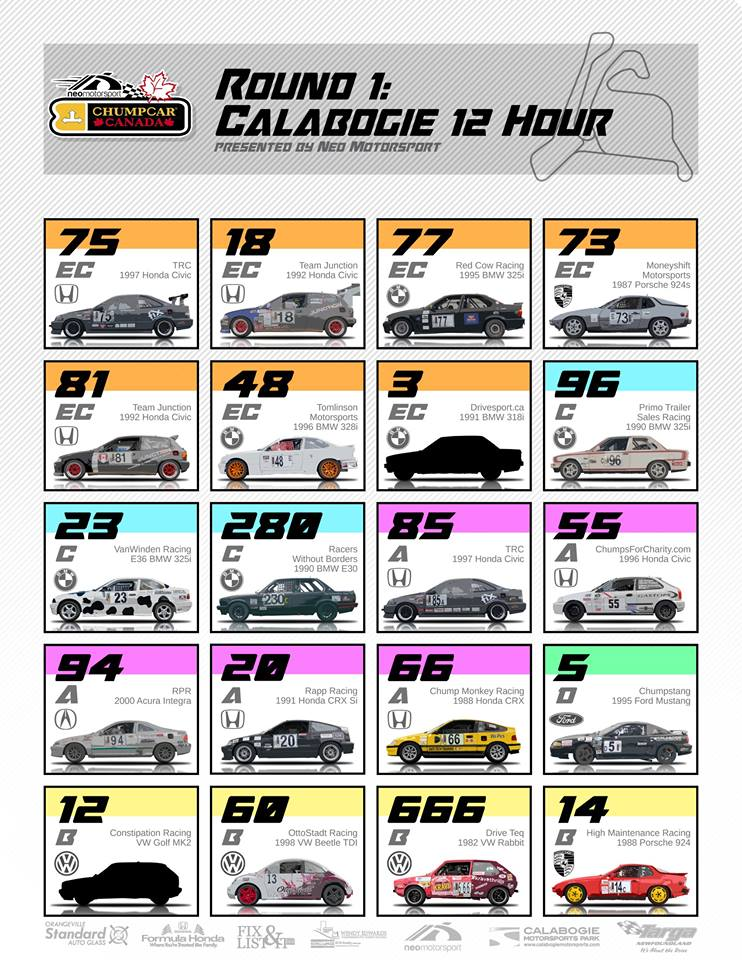 ChumpCar Canada 2017 Round 1 Spotter's Guide