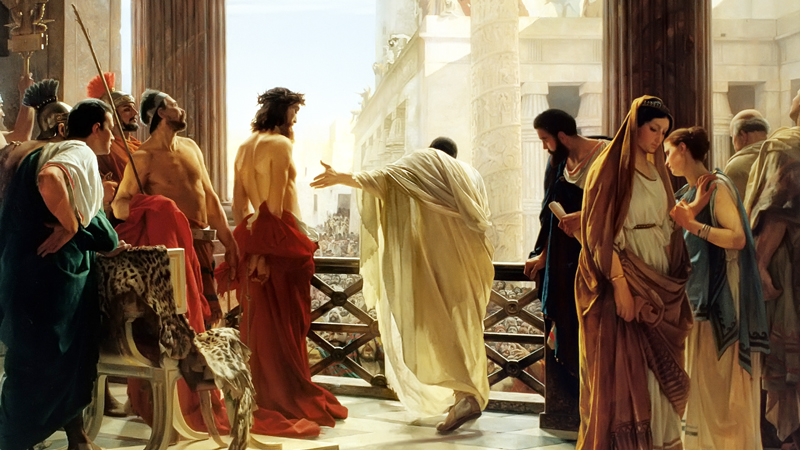 Pontius Pilate Offering Jesus to the People in the painting  Ecce homo by Antonio Ciseri around 1870