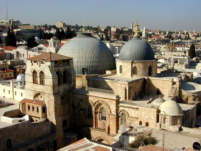 Church of the Holy Sepulcher in Jerusalem.  Photo by Todd Bolen, BiblePlaces.com