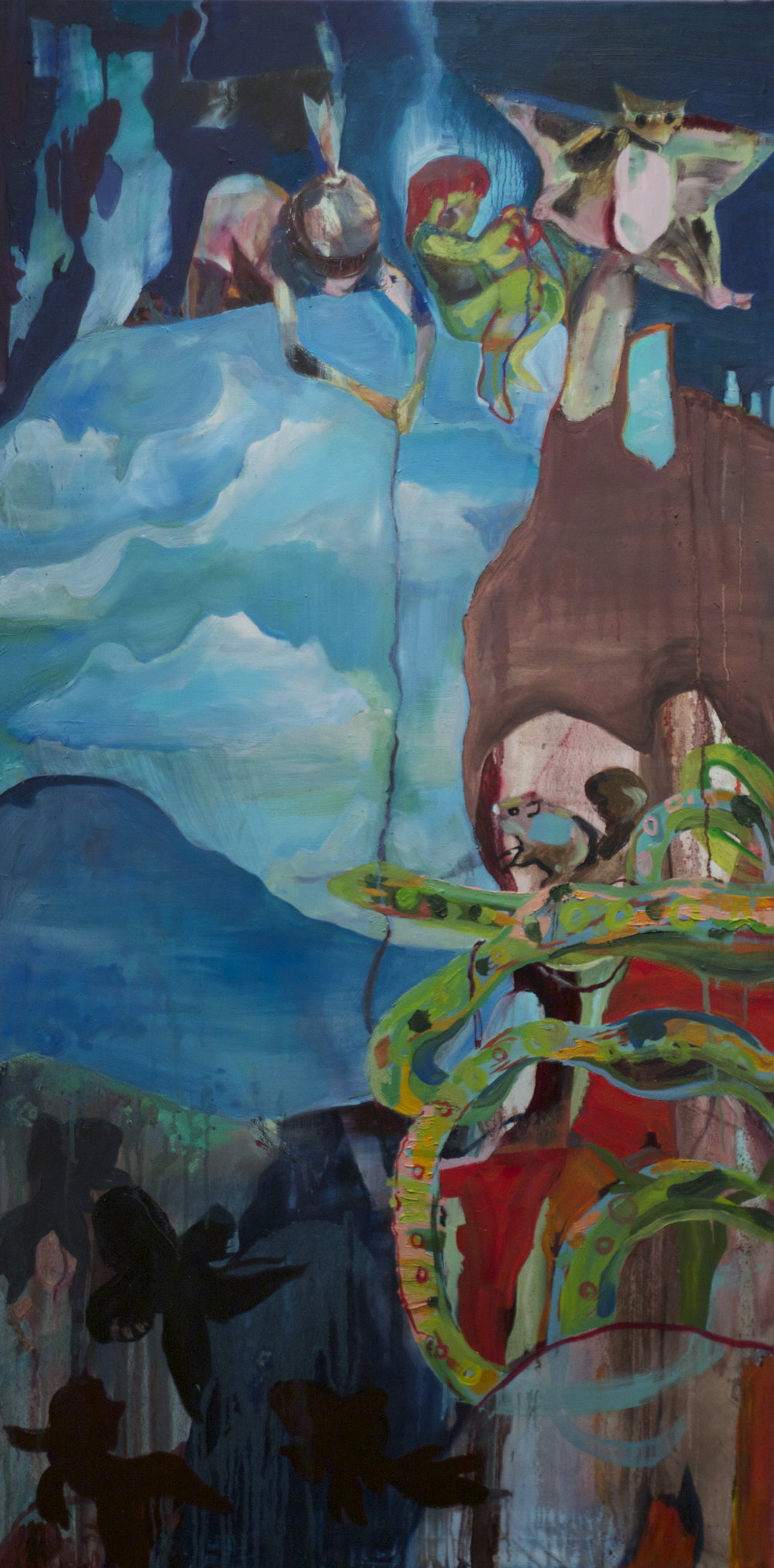 kites, oil on linen, 5' by 2 1/2', 2011, $1000