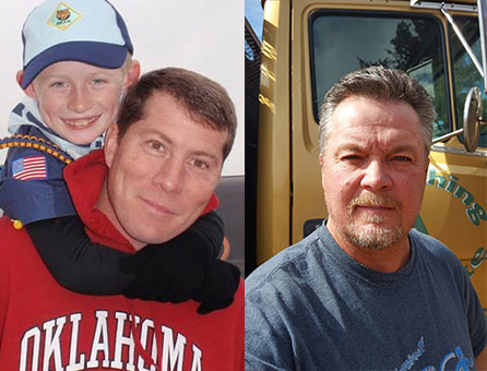 Matt Hollis pictured with his son Landen (left) and Tim Keyes (right).