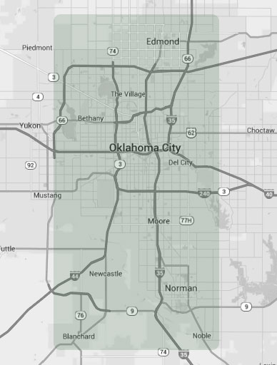 Bethany, Blanchard, Edmond, Midwest City, Moore, Newcastle, Norman, Oklahoma City and others. (Expandable Image - Click or Tap)