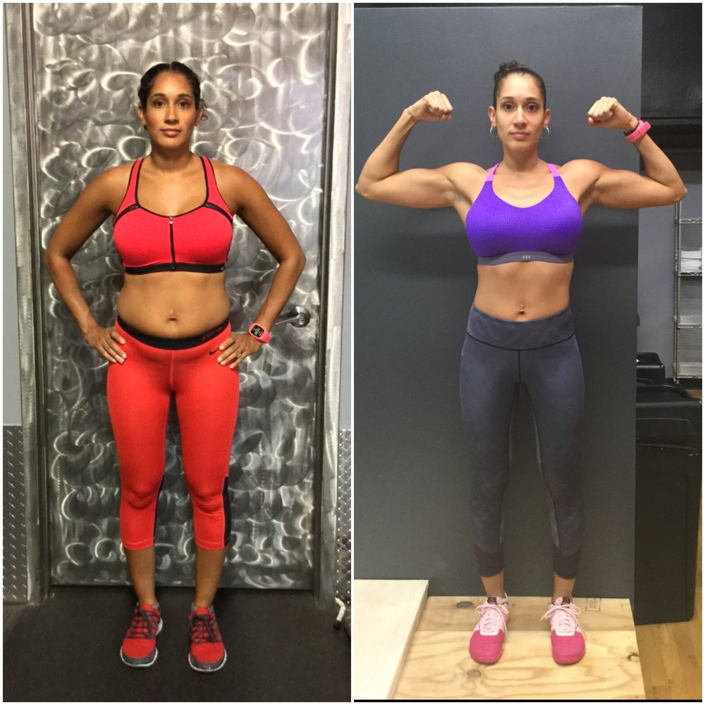Emily - I first met Lena when she was a kick-ass trainer at a facility she used to work at. She inspired me then to workout harder and smarter.I started following her on Instagram and noticed she offered private training and nutritional training. I emailed her to ask for her help and the rest is history. She began helping me with my nutrition, which I believe is one of the hardest parts of working out. She made me very accountable as I had to track everything I ate and she wold check on it on My Fitness Pal. Every time I had my check in I would be more and more motivated because the numbers would go down, not necessarily the scale all the time, but inches and body fat percentages! I felt amazing and didn't know I could do that while eating so much food. She teaches you not only how to train but how to eat smart without giving up EVERYTHING you may love! She is a phenomenal trainer and I can't wait to work with her again, because she's amazing.