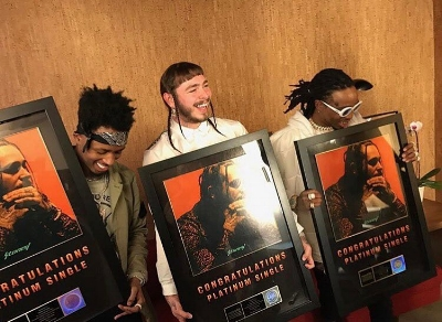 "Rapper/Singer Songwriter Post Malone's debut album ""Stoney"" went certified platinum  April 12th, 2017.  Singles off the album ""Congratulations"" and ""White Iverson"" also certified platinum in March and April 2017 respectively."
