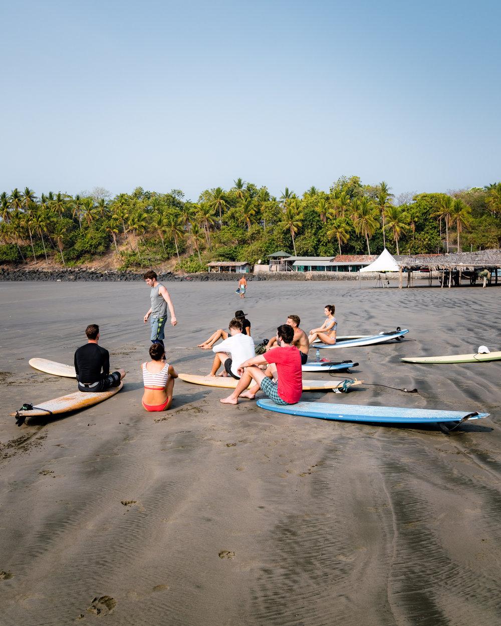 Morning beach yoga session