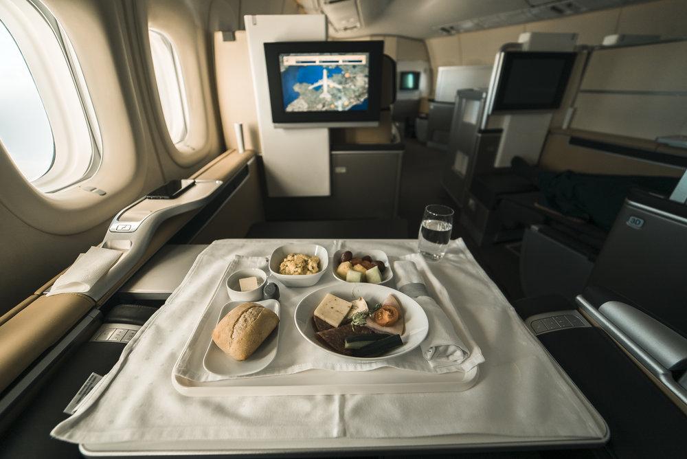 Lufthansa airlines serving breakfast.
